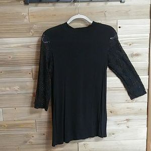 Loveappella Black Top with Lace Sleeves